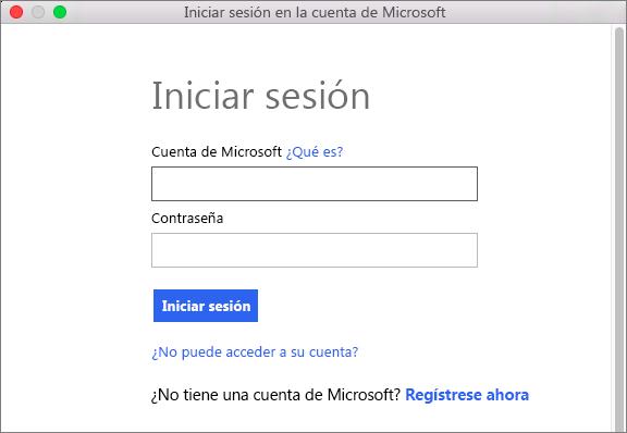 Escriba las credenciales de su cuenta de Microsoft para obtener acceso a servicios asociados a su cuenta.