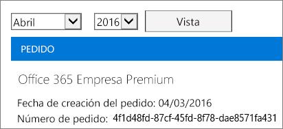 Captura de pantalla de la página Facturas en el Centro de administración de Office 365.