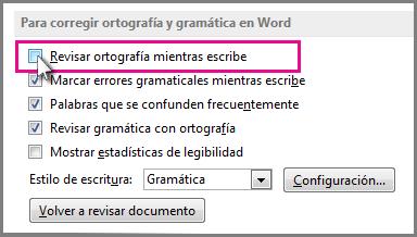 La opción de revisar la ortografía mientras se escribe