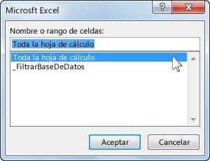 Cuadro de diálogo MicrosoftExcel en Word
