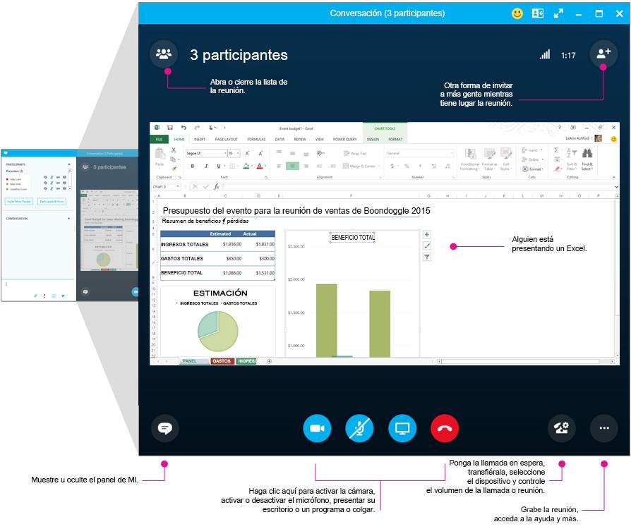 Ventana de reuniones de Skype Empresarial y panel de reuniones con diagramas
