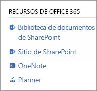 Sección de recursos de Office 365 para un grupo conectado