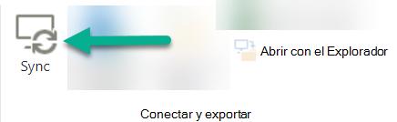 La opción de sincronización está en la cinta de SharePoint, justo a la izquierda de abrir con el explorador.