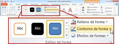En Herramientas de dibujo, la ficha Formato en la cinta de opciones de PowerPoint 2010.
