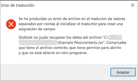 Este es el mensaje de error que recibirá cuando el archivo .csv esté vacío.