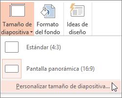 Opción de menú Personalizar tamaño de diapositiva