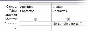 Diseñador de consultas con criterios en los que el campo Ciudad no es nulo ni está en blanco.