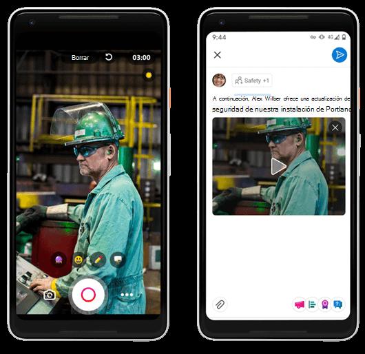 Crear vídeos cortos para Yammer en la plataforma móvil Android