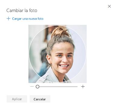 Pantalla con una opción para cambiar la foto de perfil