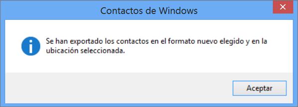 Verá un mensaje final que le indicará que sus contactos se han exportado a un archivo CSV.