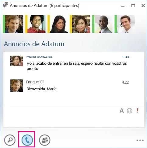 Captura de pantalla del botón Llamar del salón de chat