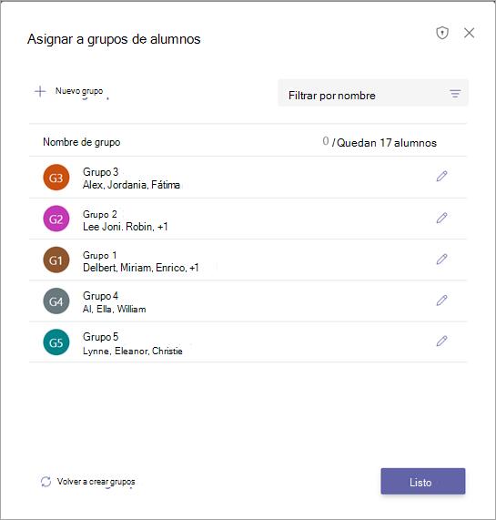 Lista de grupos de alumnos con opciones para confirmar o editar