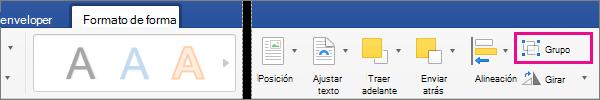Para crear un grupo de objetos o imágenes seleccionadas, haga clic en grupo.