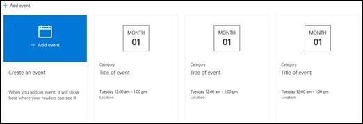 Elemento Web de eventos de SharePoint