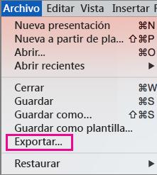 Exportación de archivos de PowerPoint 2016 para Mac