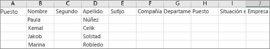 Ejemplo de archivo CSV de Outlook abierto en Excel