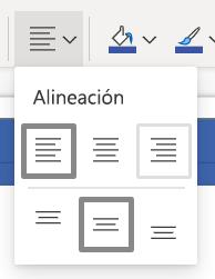 Botón Alinear texto en la cinta de Opciones de Visio Online