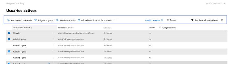 Captura de pantalla: barra de comandos de Microsoft 365 preview usuarios activos.