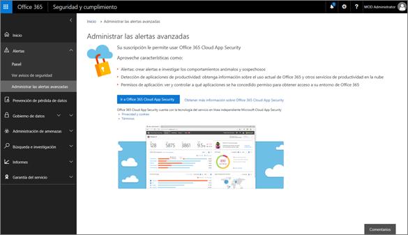 En el centro de cumplimiento y seguridad, elija Administrar alertas avanzadas para ir a la seguridad de aplicación de nube de Office 365