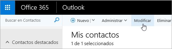 Captura de pantalla del botón Editar en la barra de navegación de Outlook.