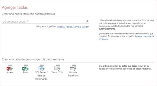 Agregar tablas a una aplicación web de Access