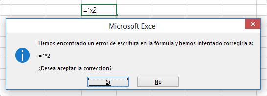 Cuadro de mensaje donde se le pregunta si quiere reemplazar x por * para la multiplicación