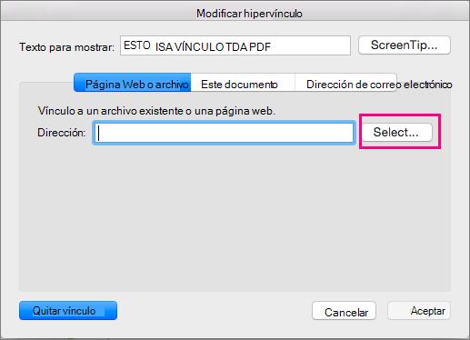 Muestra el cuadro de diálogo Insertar hipervínculo en PowerPoint 2016 para Mac.
