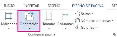 Opciones de orientación de página