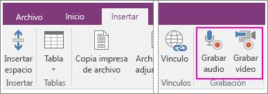 Captura de pantalla del menú Insertar, con botones AV en OneNote 2016.