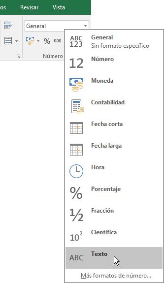 En Excel, en la pestaña Inicio, en el grupo Número, elija la flecha abajo en el cuadro General para elegir el formato de número que prefiera.