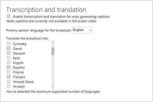 Habilitar transcripción y traducción