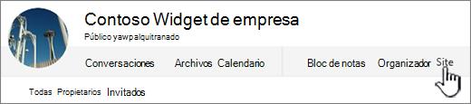 Menú de grupos de contactos de Office 365, con sitio resaltado