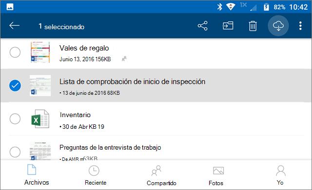 Marcar archivos de OneDrive para su uso sin conexión