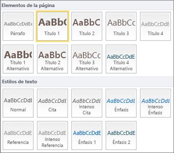 Captura de pantalla de Elementos de la página y Estilos de texto disponibles en el grupo Estilos de la cinta de SharePoint Online.
