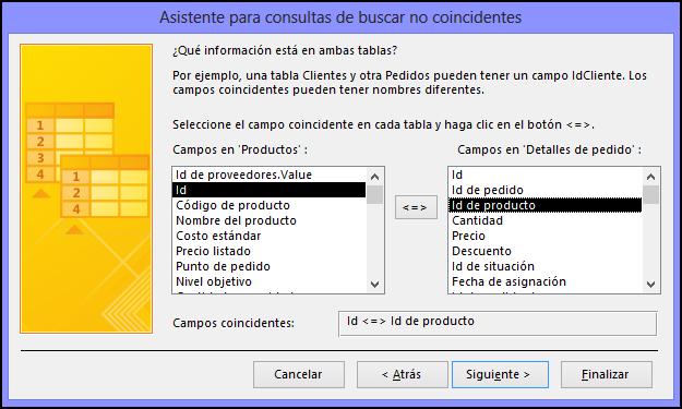 Seleccione los campos coincidentes de las tablas en el cuadro de diálogo Asistente para consultas de buscar no coincidentes.