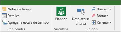 Imagen del botón de Planner en la cinta de tareas