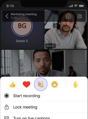 Menú móvil reacciones en directo