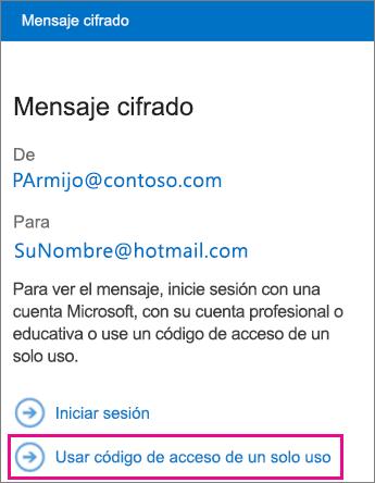 Visor de OME: mensaje de código de acceso