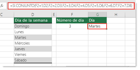 Función SI.CONJUNTO - Ejemplo de días de la semana - Fórmula en la celda G2 es =SI.CONJUNTO(F2=1,D2,F2=2,D3,F2=3,D4,F2=4,D5,F2=5,D6,F2=6,D7,F2=7,D8)