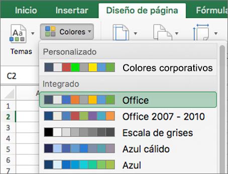 Colores personalizados y colores integrados