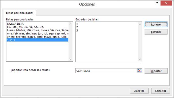Agregar manualmente elementos de lista personalizada escribiéndolos en el cuadro de diálogo Editar lista personalizada y presionar Agregar