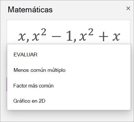 Lista de matrices en el Asistente para matemáticas