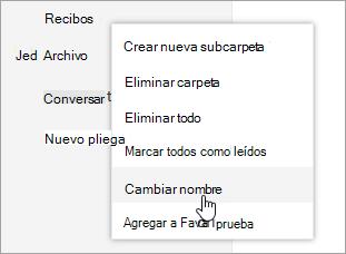 Una captura de pantalla del menú contextual de carpetas con cambio de nombre seleccionado