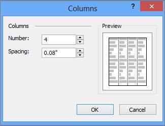 Captura de pantalla de Más columnas, en Herramientas de cuadro de texto, en Publisher.