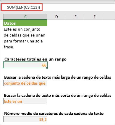 Contar el número total de caracteres de un rango y otras matrices para trabajar con cadenas de texto