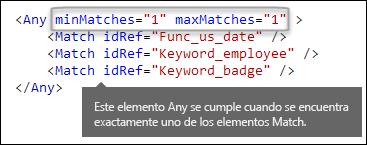 Formato XML que muestra el elemento Any con atributos minMatches y maxMatches