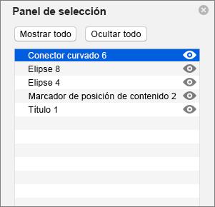 Muestra el panel de selección en PowerPoint 2016 para Mac