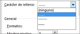 Cambiar el carácter de tabulación en la tabla de contenido a guiones o puntos.