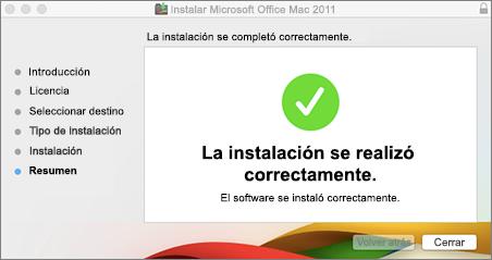 Captura de pantalla de la ventana que indica que la instalación se realizó correctamente