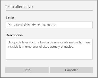 Cuadro de diálogo de texto alternativo para agregar texto alternativo en OneNote para Windows 10.